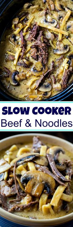Slow Cooker Beef and Noodles with Mushrooms #crockpot #SlowCooker #crockpotrecipes #beef #beefandnoodles