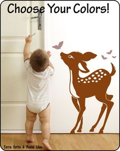 as you can tell by my previous post I am redoing Joey's room in bambi and mossy oak bedding, Bambi is his favorite movie and he LOVES deer. Baby Deer Vinyl Wall Decal Sticker for Nursery / by redeyesign, $28.00