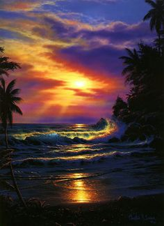 Jamaica Fantasy Waves Beach Clouds Ocean Sky Sunset Wallpaper with . Nature Pictures, Art Pictures, Beautiful Pictures, Sunrise Pictures, Beautiful Paintings, Beautiful Landscapes, Hawaiian Art, Hawaiian Sunset, Sunset Wallpaper