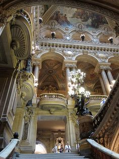 Architecture inside Opera Garnier, Paris, France.