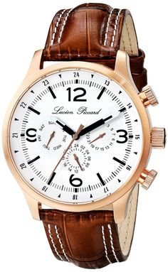 Gold watches men Lucien Piccard Men's LP-13013-RG-02-BRW Avalon Analog Display Swiss Quartz Brown Watch
