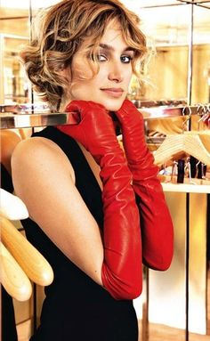 Need in green. Red Lambskin Leather Opera Length Gloves - 23 inches long $49.99