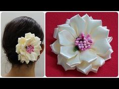 Diy kanzashi flower,wedding hair accessoire,Easy kanzashi flower tutorial - YouTube