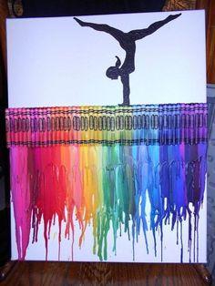 Gymnastics - 30 Cool Melted Crayon Art Ideas, http://hative.com/cool-melted-crayon-art-ideas/,