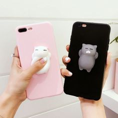 3D Cute Squishy Kitty Cat Finger Pinch Phone Case Cover Protect Iphone 6 6S 7P #Iphone6 #Iphone6Cases