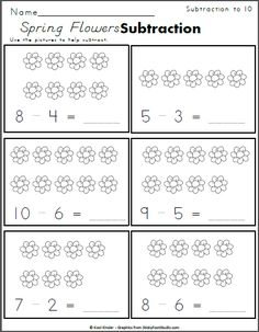 Spring Flowers Subtraction to 10