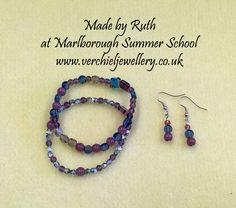 Bracelet & Earrings made by Ruth at Marlborough College Summer School run by www.verchieljewellery.co.uk