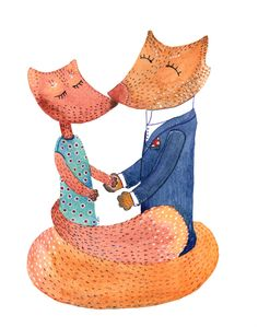 Original Watercolor Wedding Foxes, 11x14 Paper, Gift Surprise, white red blue, Elena Schnaider Artworks - pinned by pin4etsy.com