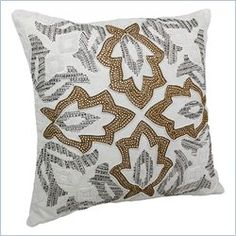 Blazing Needles Floral Throw Pillow in Ivory with Gold Beads