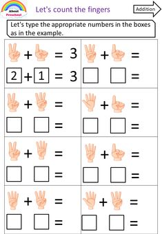 Finger number collecting – About Preschool Preschool Writing, Numbers Preschool, Kindergarten Learning, Preschool Learning Activities, Fun Learning, Math Addition Worksheets, Kindergarten Math Worksheets, Maths, Math For Kids