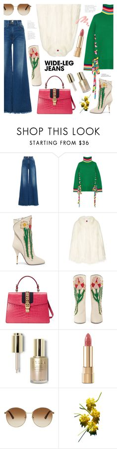 """""""Flare Up: Wide-Leg Jeans"""" by ames-ym ❤ liked on Polyvore featuring Frame, Mira Mikati, Gucci, House of Fluff, Stila, Dolce&Gabbana and Chantecaille"""