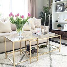 9 IKEA items that will always be cool! (Daily Dream Decor) - There are so many cute and cool things and IKEA we never to know what to buy first or what to choose - Coffee Table Hacks, Ikea Coffee Table, Coffee Table Design, Gold Coffee Tables, Gold Glass Coffee Table, Ikea Table Hack, Ikea Glass Table, Ikea Hack Gold, Coffee Table With Shelf