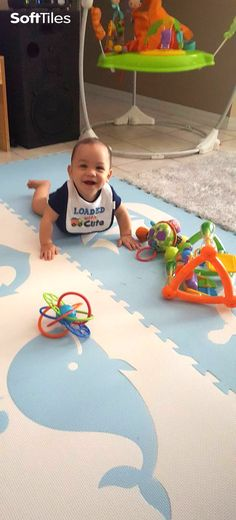 SoftTiles Nautical Theme Foam Play Mat in light blue and white. The light blue and white foam mats are perfect for designer nurseries and playrooms.
