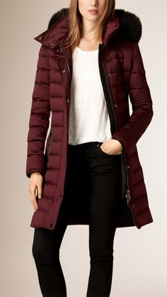 Down-Filled Sateen Puffer with Fur Trimmed Hood Deep Claret Red Puffer Jacket Women, Puffer Coat With Fur, Parka Outfit, Trench Coat Outfit, Winter Outfits, Cool Outfits, Casual Outfits, Fashion Outfits, Coats For Women