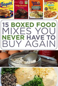 15 Boxed Food Mixes You Never Have To Buy Again. Much better for you. food mixes 15 Boxed Food Mixes You Never Have To Buy Again Homemade Dry Mixes, Homemade Spices, Homemade Seasonings, Homemade Food, Bisquick Mix Homemade, Homemade Brownie Mix, Yummy Recipes, Copycat Recipes, Cooking Recipes