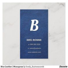 Blue Leather | Monogram Business Card