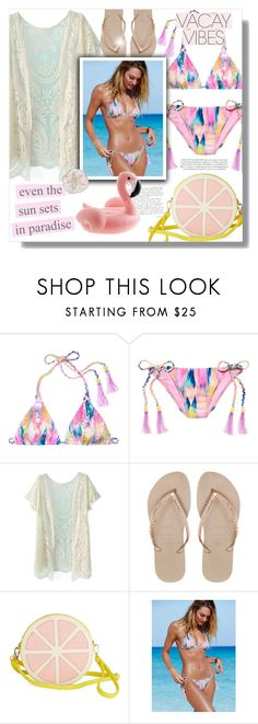 """""""The Sun Sets in Paradise"""" by katrinaalice ❤ liked on Polyvore featuring Victoria's Secret, Justin Bieber, Havaianas, BeachPlease and vacayoutfit"""