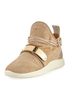 Suede+High-Top+Sneaker,+Beige+by+Giuseppe+Zanotti+at+Neiman+Marcus.