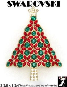Swarovski+Christmas+Tree+Pin+Limited+Edition+2003+Swan+-+Antique+&+Collectible+Exchange