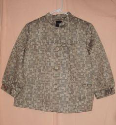 Sz 12 George Silver Metallic Geometric Print Swing Jacket 3/4 Sleeve Career Wear