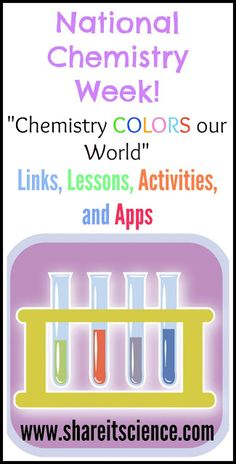 Share it! Science News : National Chemistry Week Chemistry Colors our World Chemistry For Kids, Teaching Chemistry, Easy Science Experiments, Science Chemistry, Physical Science, Science Lessons, Science News, Science Fun, Science Activities For Kids