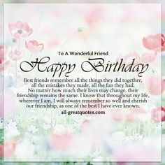 50 Happy birthday wishes friendship Quotes With Images - Page 2 of 5 - Dreams Quote Happy Birthday Wishes Friendship, Happy Birthday Special Friend, Happy Birthday Best Friend Quotes, Special Friend Quotes, Happy Birthday For Her, Birthday Quotes For Best Friend, Birthday Blessings, Birthday Wishes Quotes, Birthday Cards For Friends