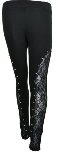 Poizen Industries Bound Legging Full Length Lace Spike Goth Emo Punk Ladies | eBay