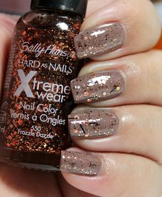 This is so funny. This is how my nails look RIGHT NOW. same sparkle polish. Same brown.