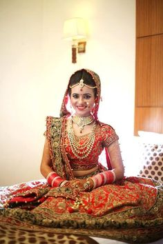 Bridal Lehengas - Red and Green Lehenga | WedMeGood