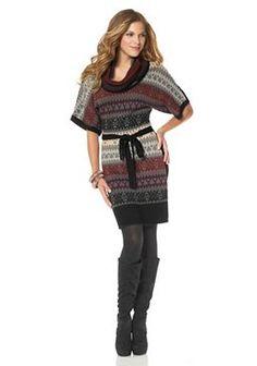 Ja lekker! De winter schijnt eraan te komen! JESSICA SIMPSON Tricot-jurk in Noors breisel