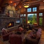 #BigWoodWednesday  www.tetonheritagebuilders.com  Koselig Hus Log Cabin Great Room