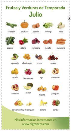 Calendario de #frutas y #verduras de temporada para #julio. Puedes clicar en la foto para ir a nuestra web y descargarte el pdf en alta calidad.