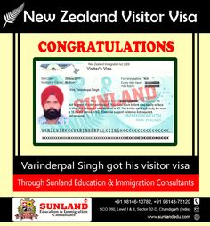 Congratulates to Varinderpal Singh with pride on getting #Visitor #Visa for #New #Zealand Through #SUNLAND #EDUCATION & #IMMIGRATION #CONSULTANTS, #CHANDIGARH. Call or Whatapp +91 98146 10782, +91 98143-75120 or Visit this link for more info: http://bit.ly/2g4k8TT