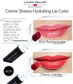 Loving the New Laura Geller Creme Sheers Hydrating Lip Colors. These lipsticks are very hydrating and add a nice sheer pop of color to the lips. They glide on like silk and have a nice shine to them.