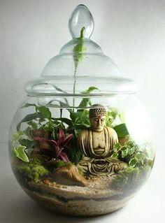 23 Ideas For Garden Layout Zen Orchid Terrarium, Garden Terrarium, Succulent Terrarium, Glass Garden, Buddha Garden, Buddha Decor, Zen Garden Design, Little Buddha, Paludarium