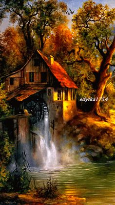 What I Like About Fall | Gorgeous #fallcolors | From Elvira Ciobanu - Google+ | In the original post the waterfall is a gif.