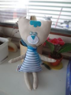 sewn cat, cat toy, handmade cat, blue cat, stuffed cat, soft toy, blue buttons, cool toy