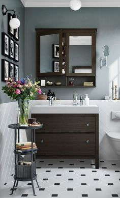 HEMNES Bathroom Series - IKEA - - HEMNES Bathroom Series – IKEA Bathrooms A traditional approach to a tidy bathroom! The IKEA HEMNES bathroom series has a traditional choice of colors and lots of smart storage ideas. Bad Inspiration, Bathroom Inspiration, Upstairs Bathrooms, Tiled Bathrooms, Bathroom Vanities, Painted Bathrooms, Small Bathrooms, Vanity Sink, Painted Tiles