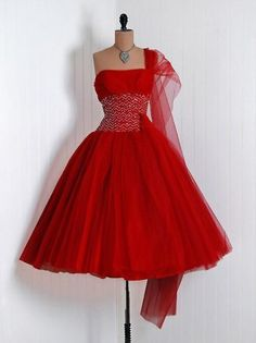 1950s vintage red dress.  The 'old' stuff is so much prettier than what they make now!