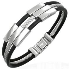 Men's Stainless Steel Wire & Black Rubber Contemporary Bangle
