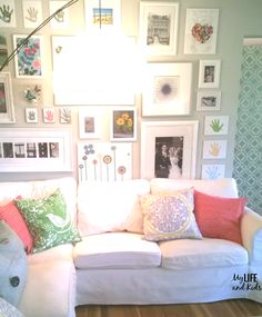 How to keep your white slipcovered Sofa pretty & clean with kids & pets. Have kids? You can still have a white couch and love it! I'm sharing my top secret tip to keep that white couch clean - even with kids and dogs! Wall Behind Sofa, Above Couch, White Leather Sofas, Best Leather Sofa, Black Leather, How To Clean Furniture, White Furniture, Kids Living Rooms, Clean Couch
