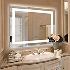 36 x 28 inch LED Lighted Vanity Bathroom Mirror, Wall Mounted + Anti Fog & Dimmer Touch Switch + UL Listed + IP44… Lighted Vanity Mirror, Led Mirror, Wall Mounted Mirror, Mirror With Lights, Wall Mirrors, Bathroom Wall, Bathroom Interior, Vanity Bathroom, Master Bathroom