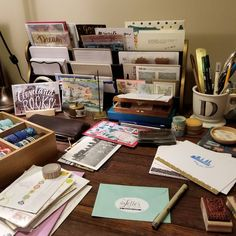 I'm finding that making a mess in my new creative space is way fun! And the tiered slot thingy I found at an antique store recently might end up being one of my favorite purchases ever. #penpal #penpals #snailmail #sendmoremail #writemoreletters #write_on #nationalletterwritingmonth #desk #creativespace #create #creative #ohio