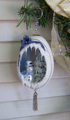 Egg Art Snowman Christmas Ornament Blue Silver Goose by EggShells, $27.00