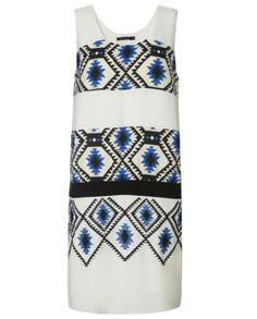 Colourblock Aztec print white dress - Atterley Road