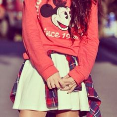 Spanish fashion blogger Isa styles our Mickey Mouse sweatshirt with one of our check shirts. *fashion high five*