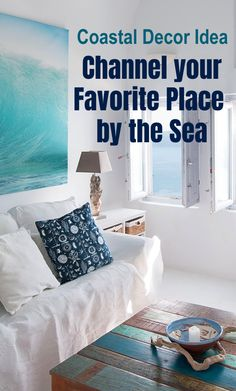 Coastal Decor Idea #7: Channel a Favorite Place by the Sea, like this villa in Santorini Greece, for example. Whether you have been there or not! Read this coastal how to decorating guide for tips and ideas. Featured on Completely Coastal.