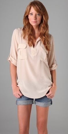 cute tunic with white shorts instead of denim