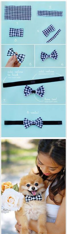 DIY Projects for Your Pet - Do It Yourself Doggie Bow Tie Tutorial - Cat and Dog Beds, Treats, Collars and Easy Crafts to Make for Toys - Homemade Dog Biscuits, Food and Treats - Fun Ideas for Teen, Tweens and Adults to Make for Pets http://diyprojectsforteens.com/diy-projects-pets