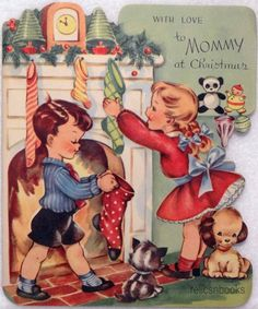 853 50s Kids Hang Their Stockings Vintage Diecut Christmas Card Greeting | eBay